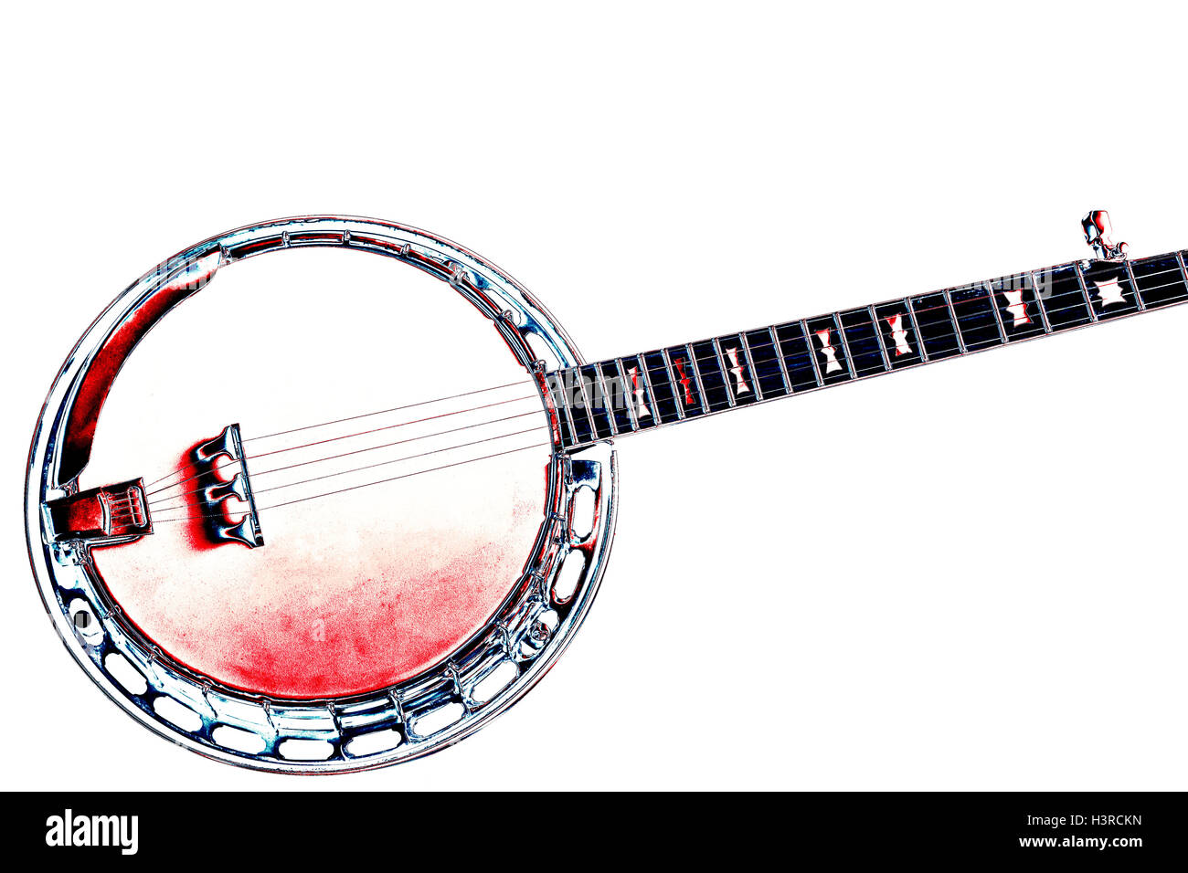 5 string bluegrass banjo on a White background in a grunge style. - Stock Image
