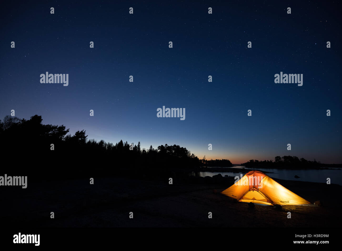 A camp place with a great view at Emäsalo, Porvoo, Finland, Europe, EU - Stock Image