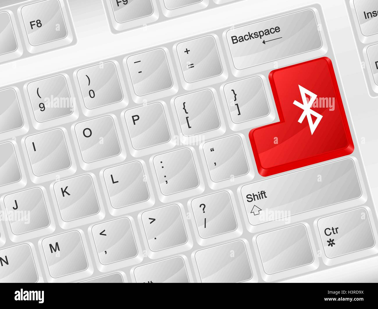 White Computer Keyboard Bluetooth Symbol Vector Illustration Stock