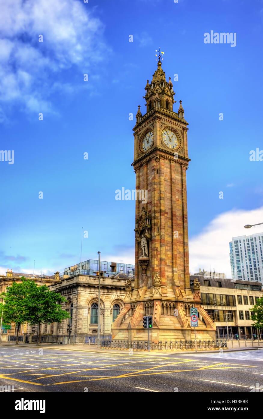 Albert Memorial Clock in Belfast - Northern Ireland - Stock Image