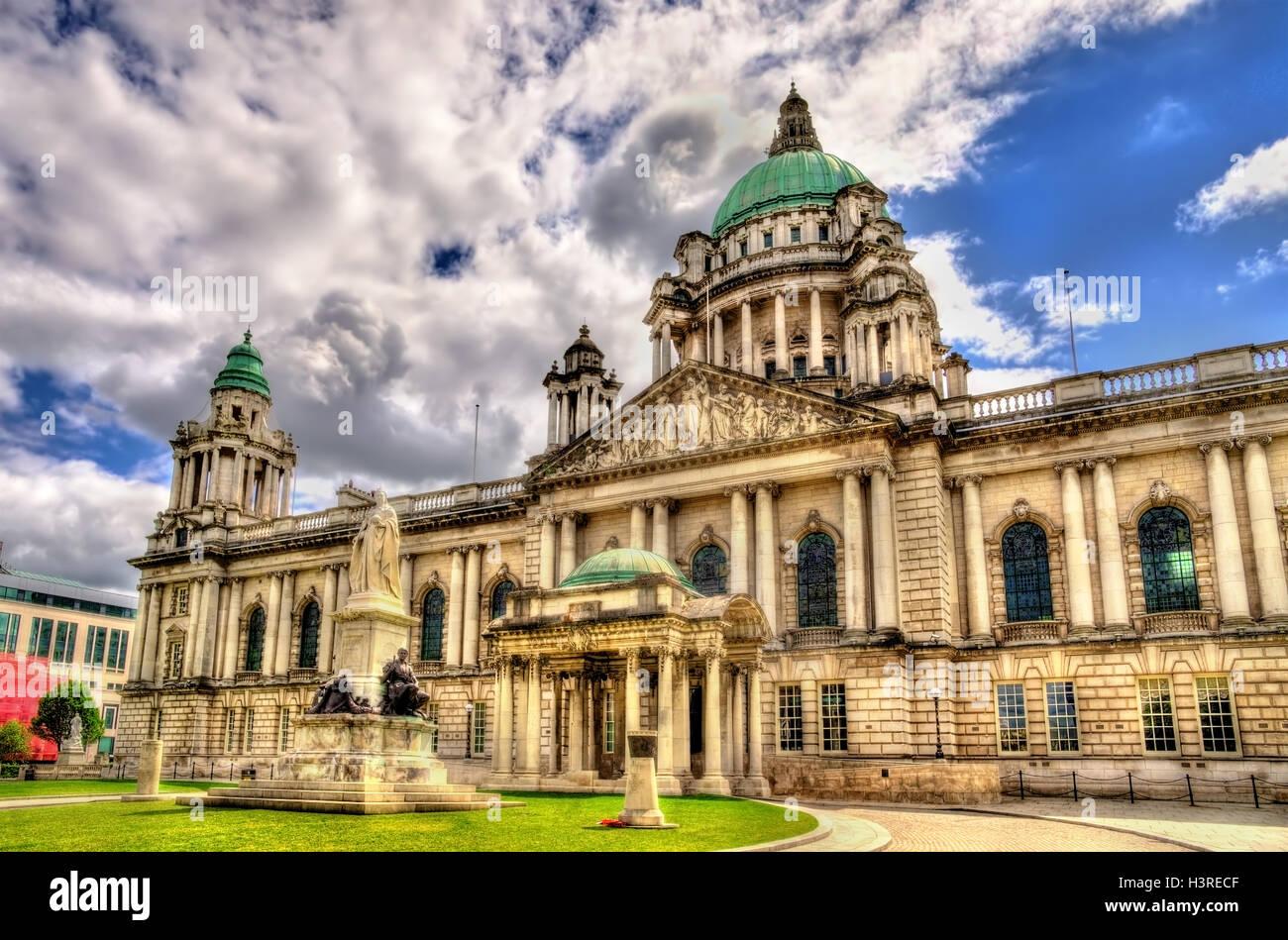 Queen Victoria Memorial and Belfast City Hall - Northern Ireland - Stock Image