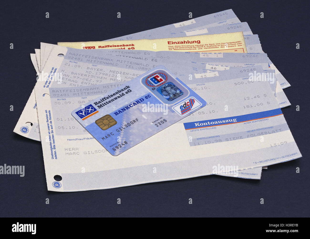 Bank statements, EC-card, bank statement, bank statement, bank, banking transactions, voucher, credit balance, Eurocheque - Stock Image