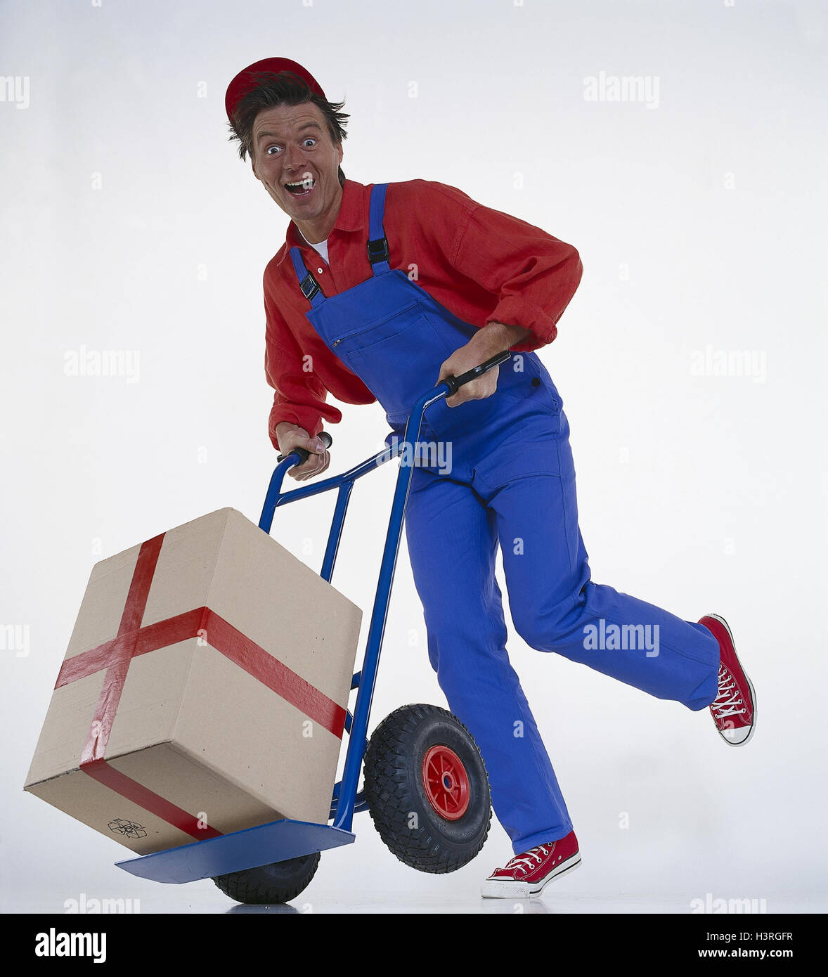 Man, working clothes, pouch cart, package mb 16 A3 - Stock Image