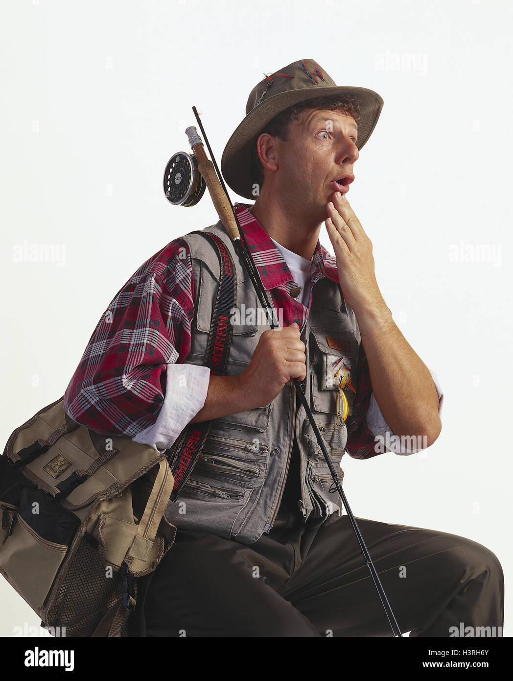 Angler, gesture, - dumbfounded, studio mb 140 A7 Stock Photo