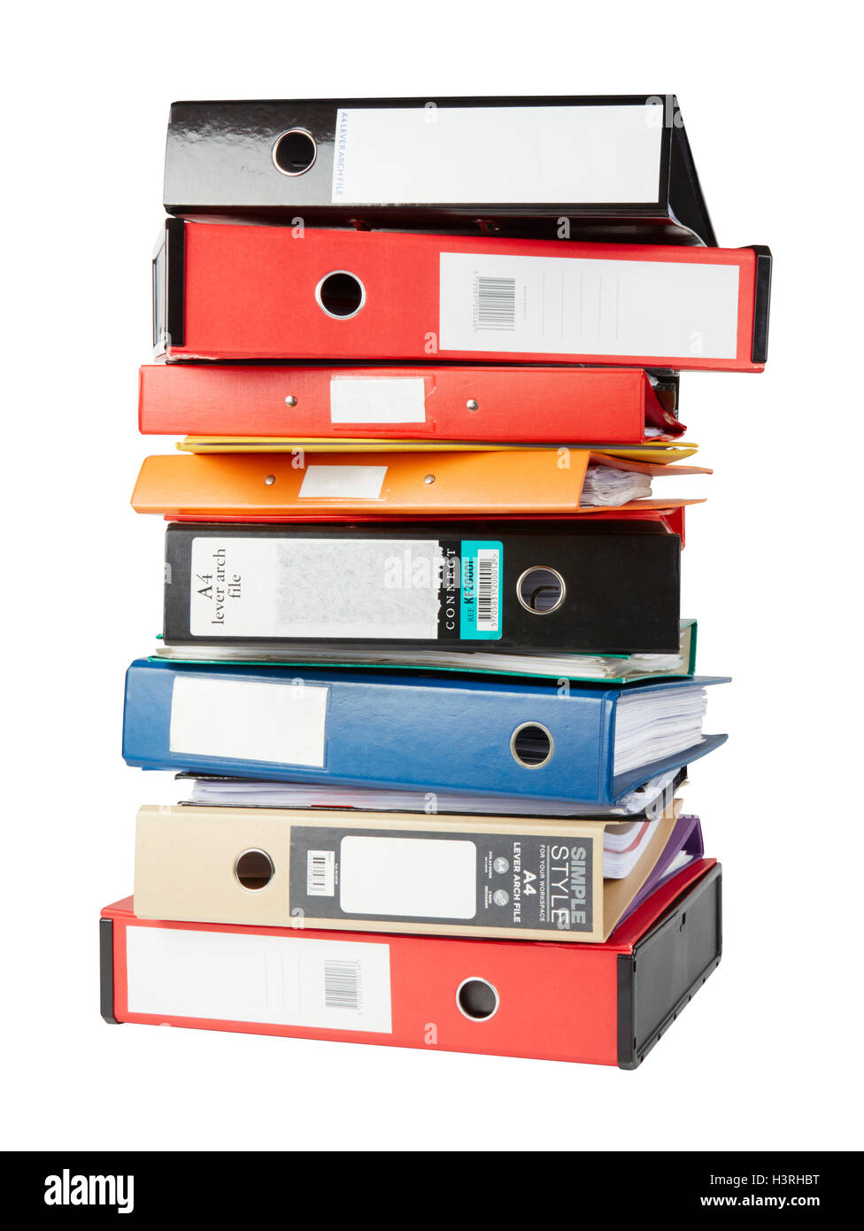 A4 folders and box files stacked up - Stock Image