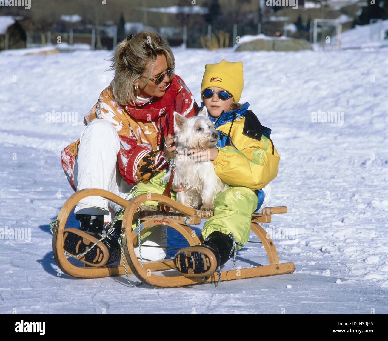 Winters Woman Child Dog Sleigh Riding Winter Vacation Snow Slide Sledge Toboggan Leisure Time Hobby Parent Single