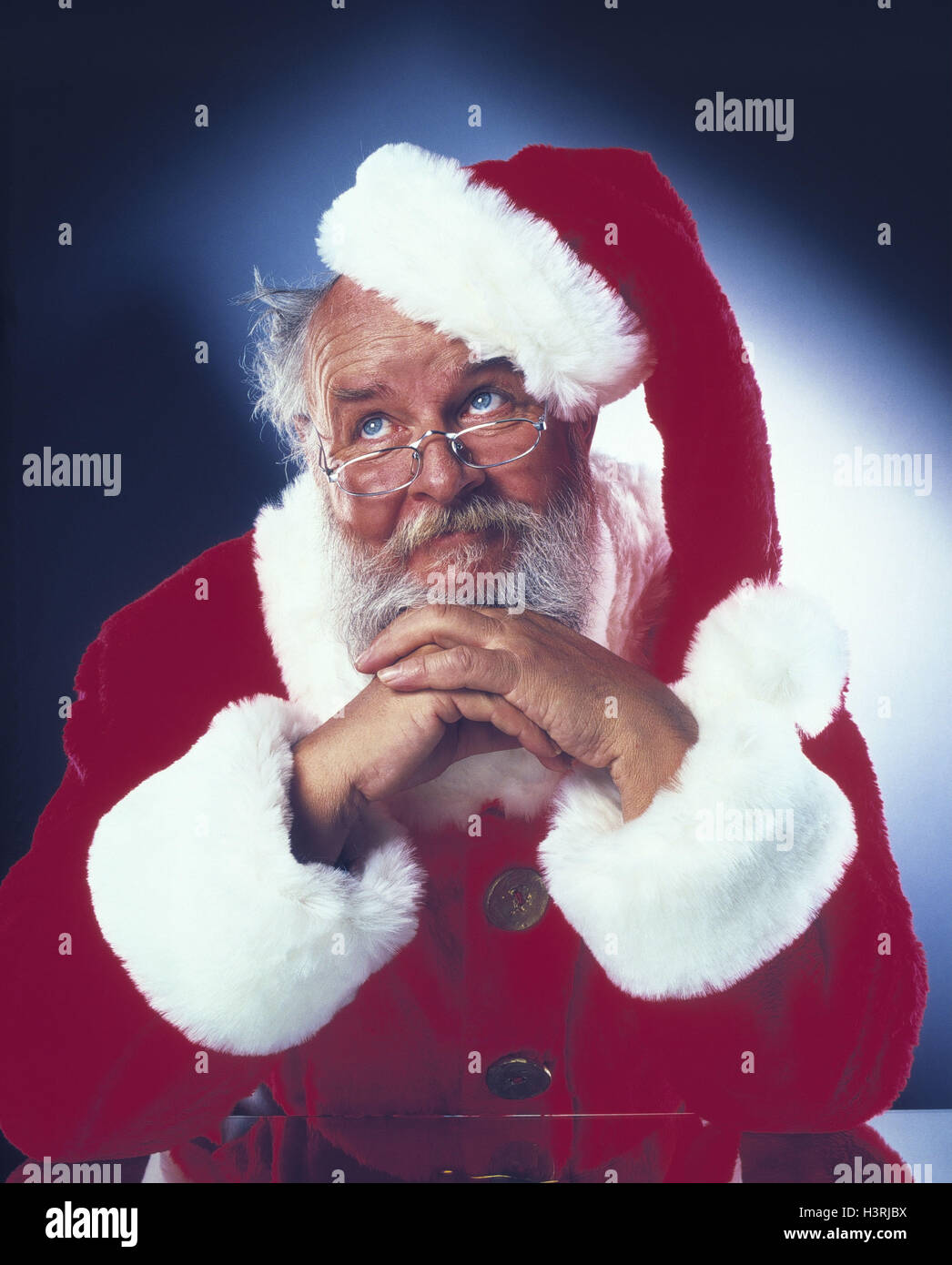 Santa Claus, gesture, desperation, half portrait, Christmas, yule tide, Santa, exhausts, raise the eyes thoughtful, - Stock Image