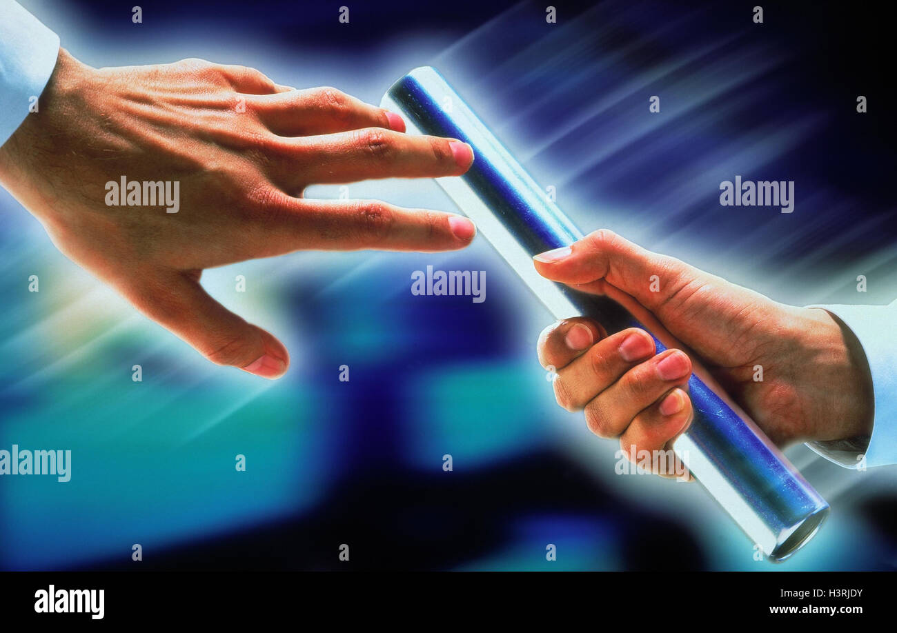 Business people, detail, hands, relay race, wand, discharge, icon, Teamwork manager, men, series, cooperation, co - Stock Image