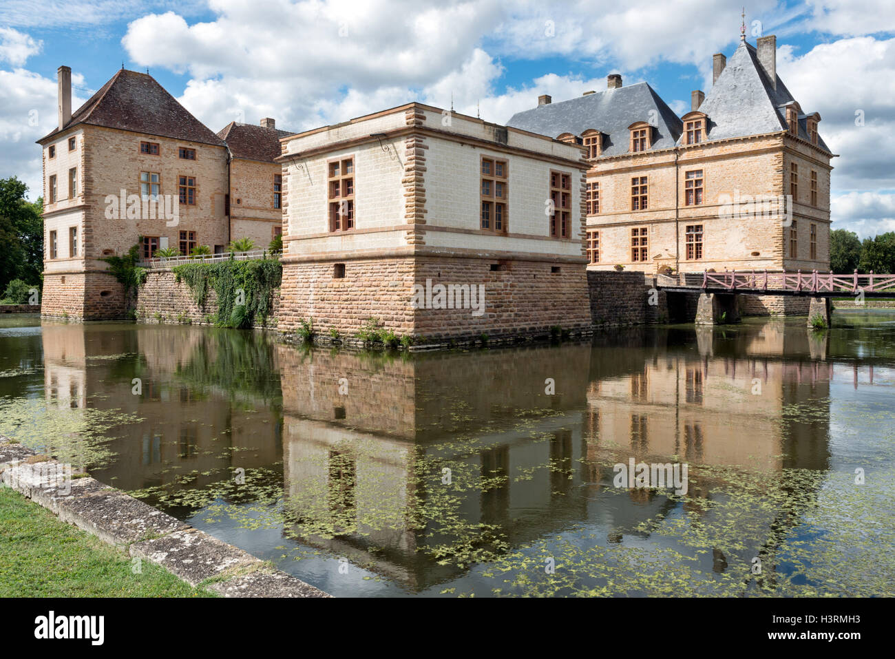 A view from the moat of the historic burgundian renaissance Chateau de Cormatin on a sunny Summer day Stock Photo
