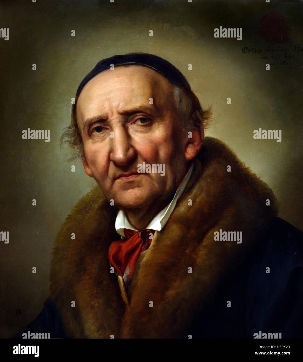Portrait Johann Gottfried Schadow 1832 Julius Hubner 1806-1882 German Germany Stock Photo