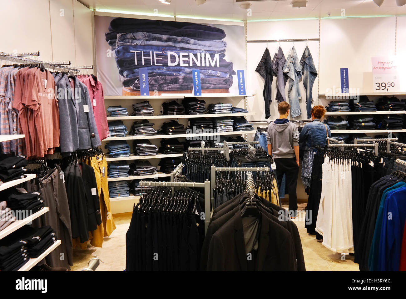 Jeans department of a C&A fashion store. Stock Photo