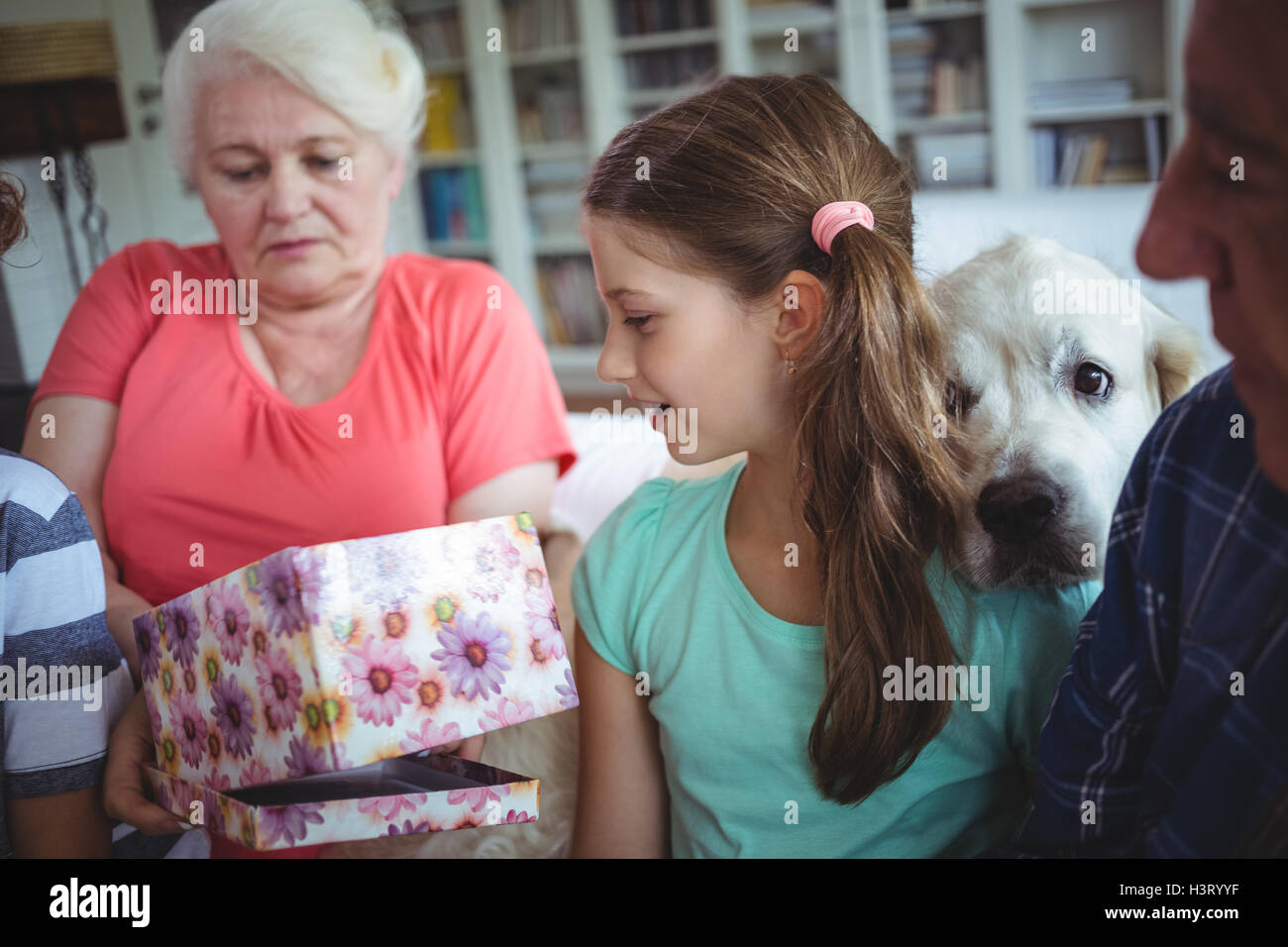 Grandparents and grandchildren looking at surprise gift in living room - Stock Image