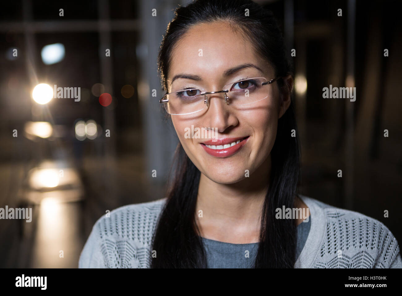 Portrait of businesswoman in spectacle - Stock Image