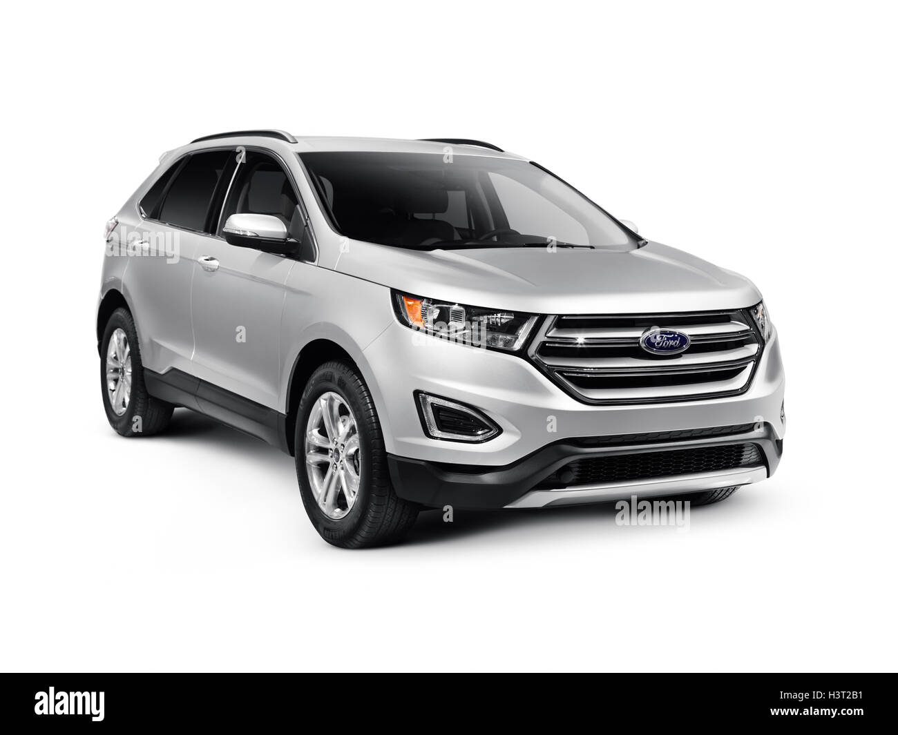 Silver 2016 Ford Edge Sport car SUV crossover vehicle isolated on white background with clipping path - Stock Image