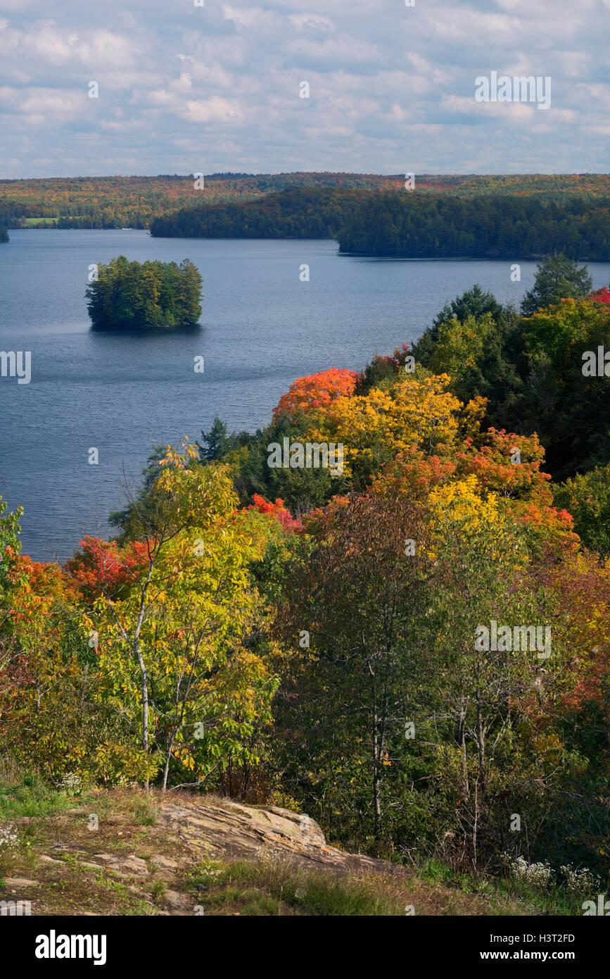 Fairy Lake in autumn nature scenery, Huntsville, Muskoka, Ontario, Canada. Stock Photo