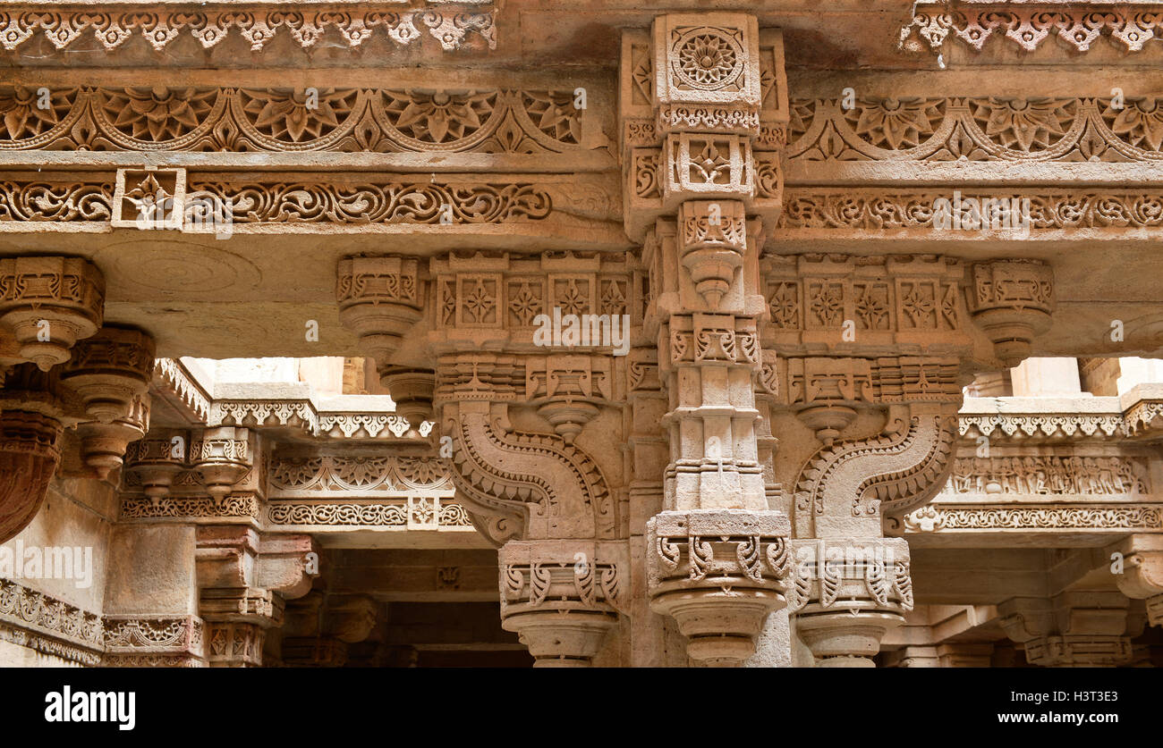 Adalaj Stepwell is a Hindu water building in the village of Adalaj, close to Ahmedabad town in the Indian state - Stock Image