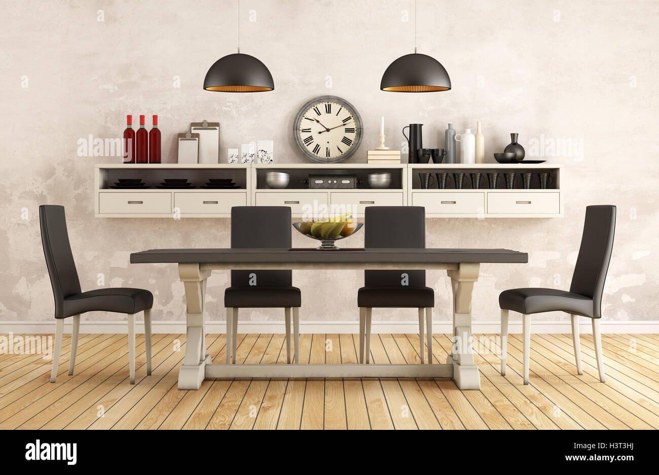 Miraculous Black And White Retro Dining Room With Old Table And Chairs Pabps2019 Chair Design Images Pabps2019Com