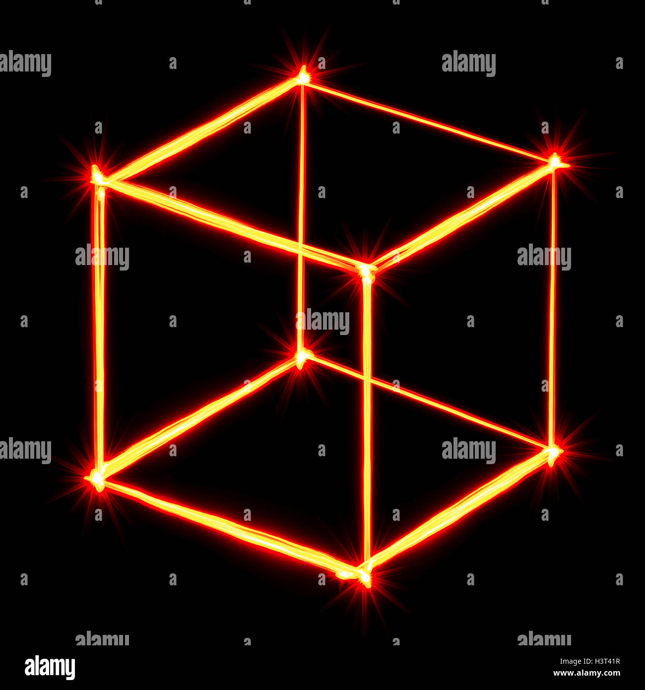 red light painting necker cube on black background - Stock Image