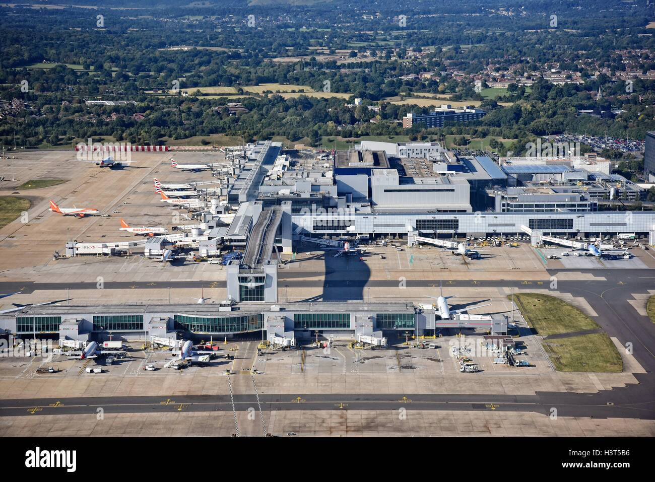 London Gatwick Airport Crawley Surrey aerial view Stock Photo