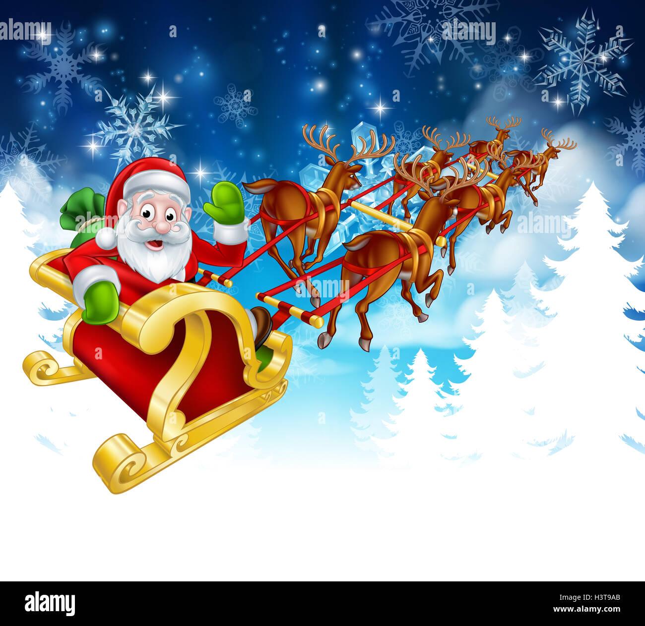 winter christmas scene of cartoon santa in his reindeer sled or