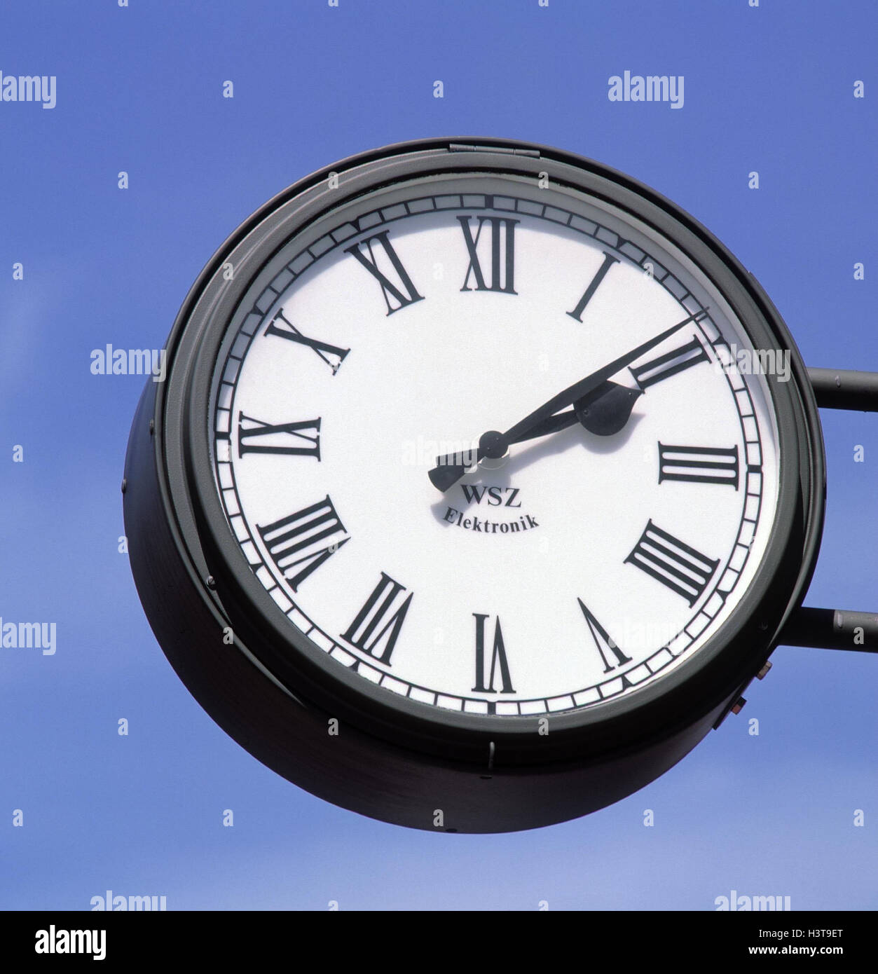 Clock, dial Roman, station clock, digits, outside - Stock Image