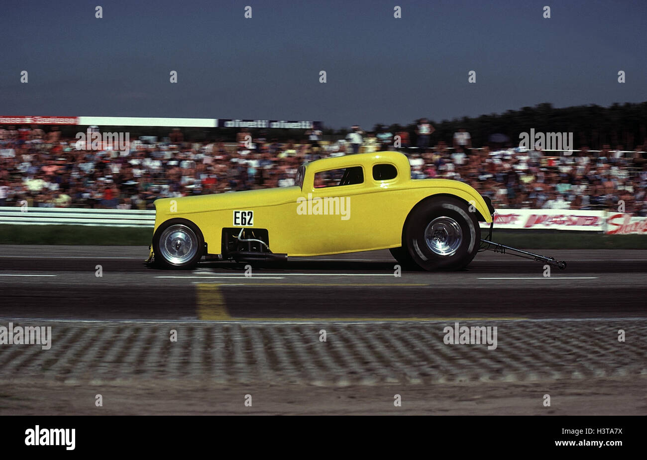Race track, Hot Rod Dragster Autosport, motor sport, car racing, racing car, Dragster, drag racing, drag race, stand, - Stock Image