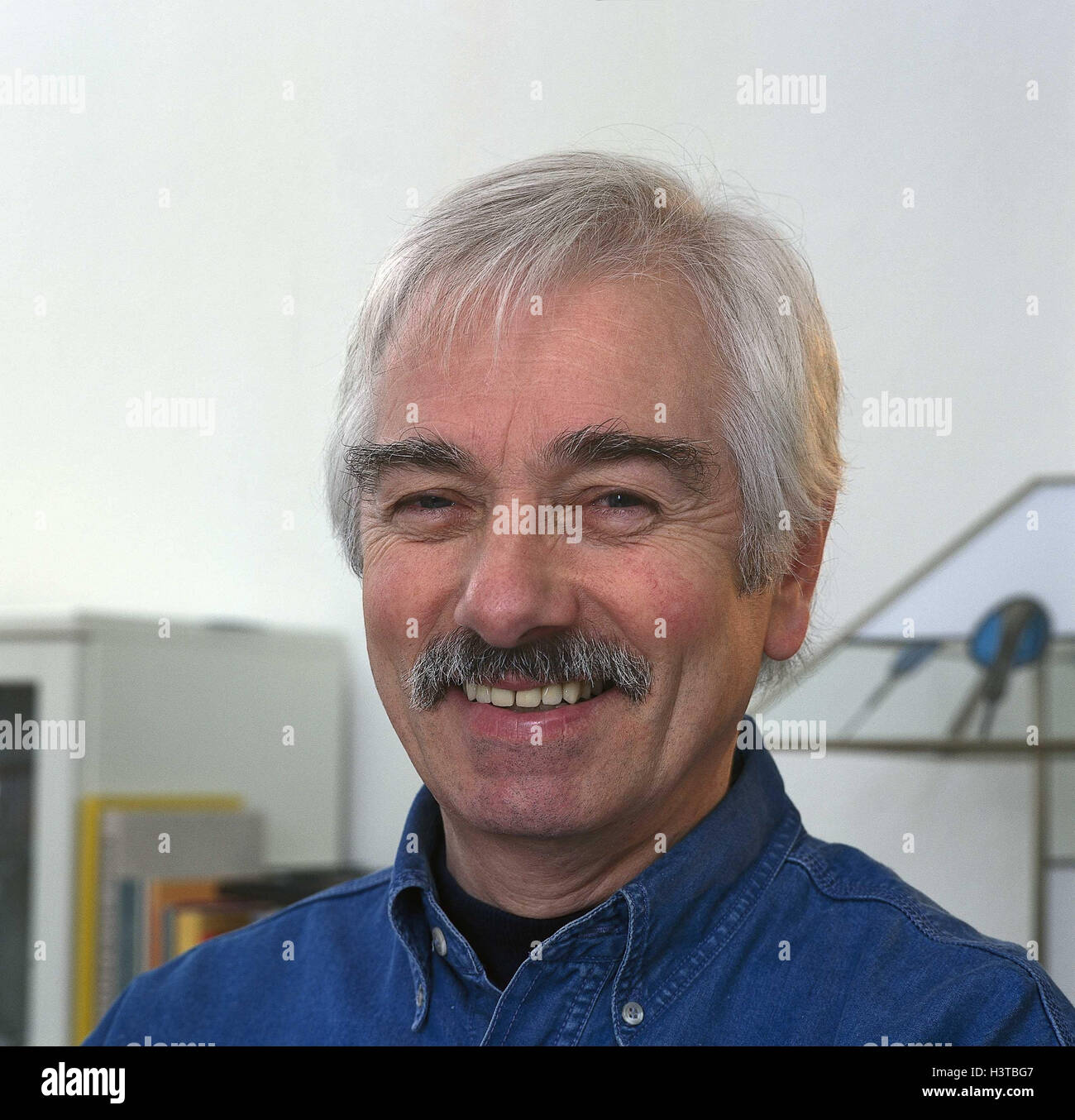 Man, smile, happy, grey-haired, moustache, portrait, inside, man's portrait, middle old person, view camera, - Stock Image