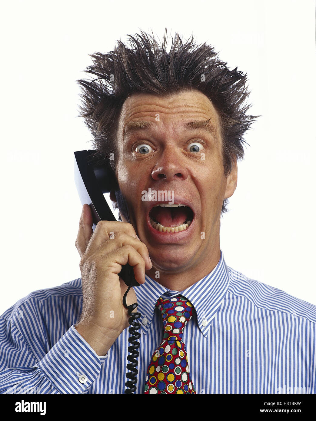 Man, call up, gesture, fright, terror, portrait, 'hairs to mountains stand', business, office worker, phone, - Stock Image