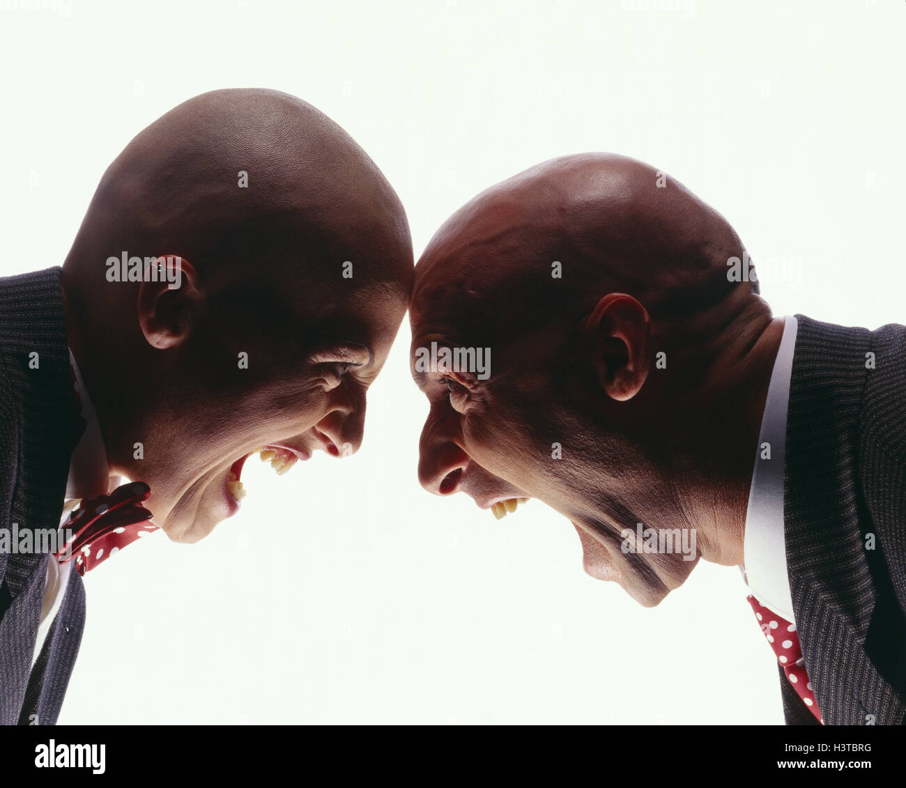 Couple, bald head, closely packed, gesture, 'shout', near mb 158 A3 - Stock Image