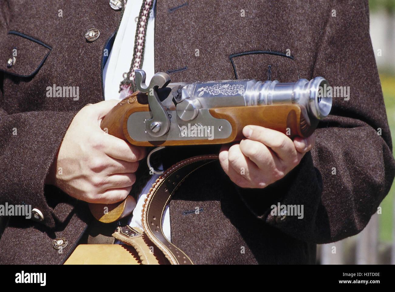 Germany, Bavaria, Chiemgau, goal spree, man, detail, hand saluting gun, outside, contactors, saluting guns, weapon, - Stock Image