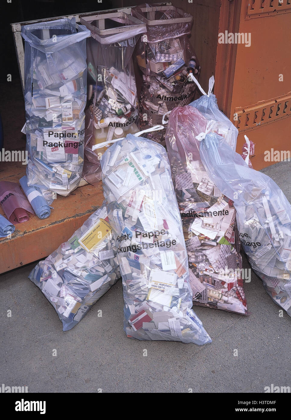 Hazardous wastes, bags, Old drugs, problem garbage, envelopes, instructions, garbage separation, environmental discharge, - Stock Image