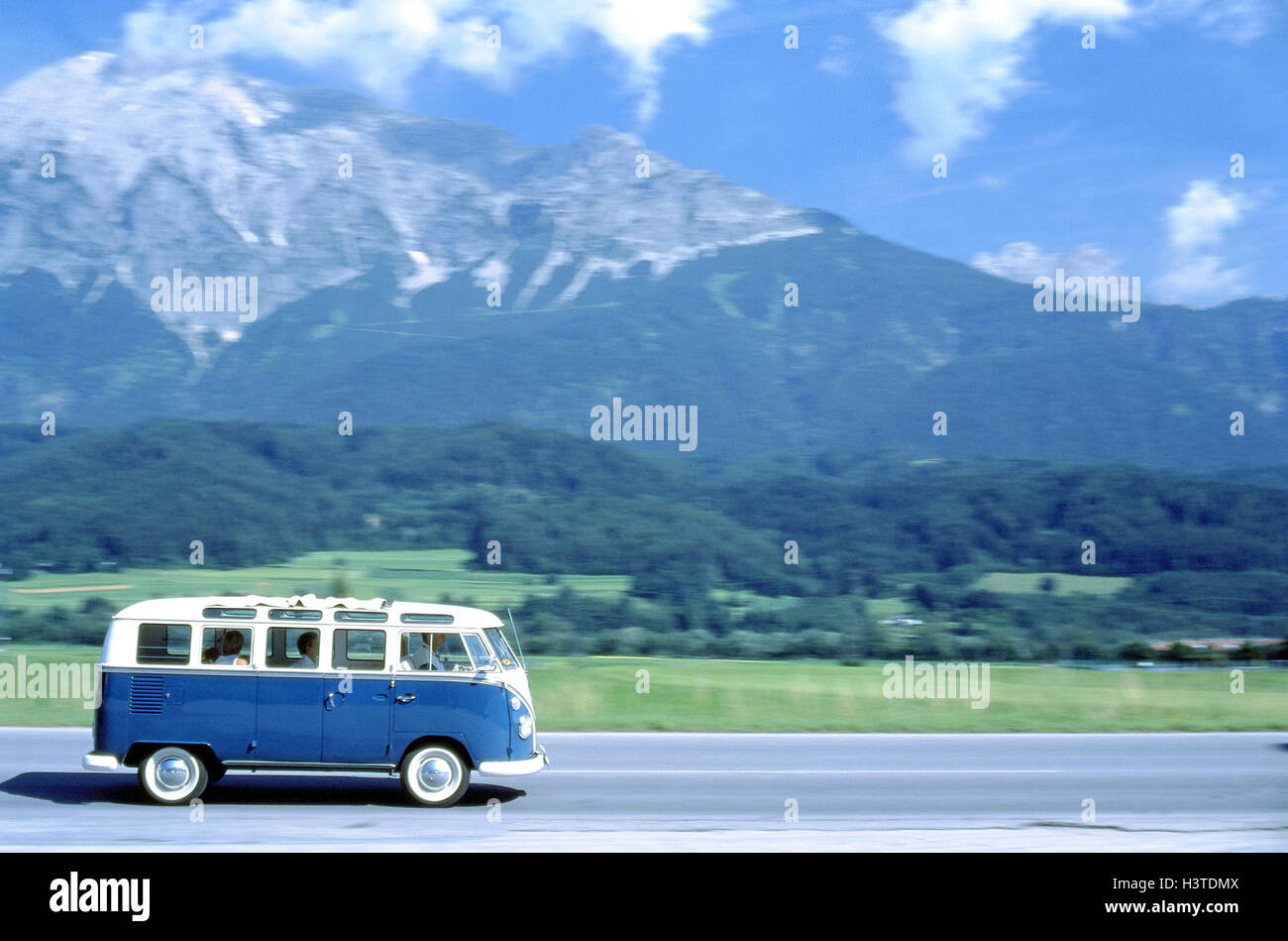 Summers, country road, minibus, old-timer, VW bully samba, year of ...