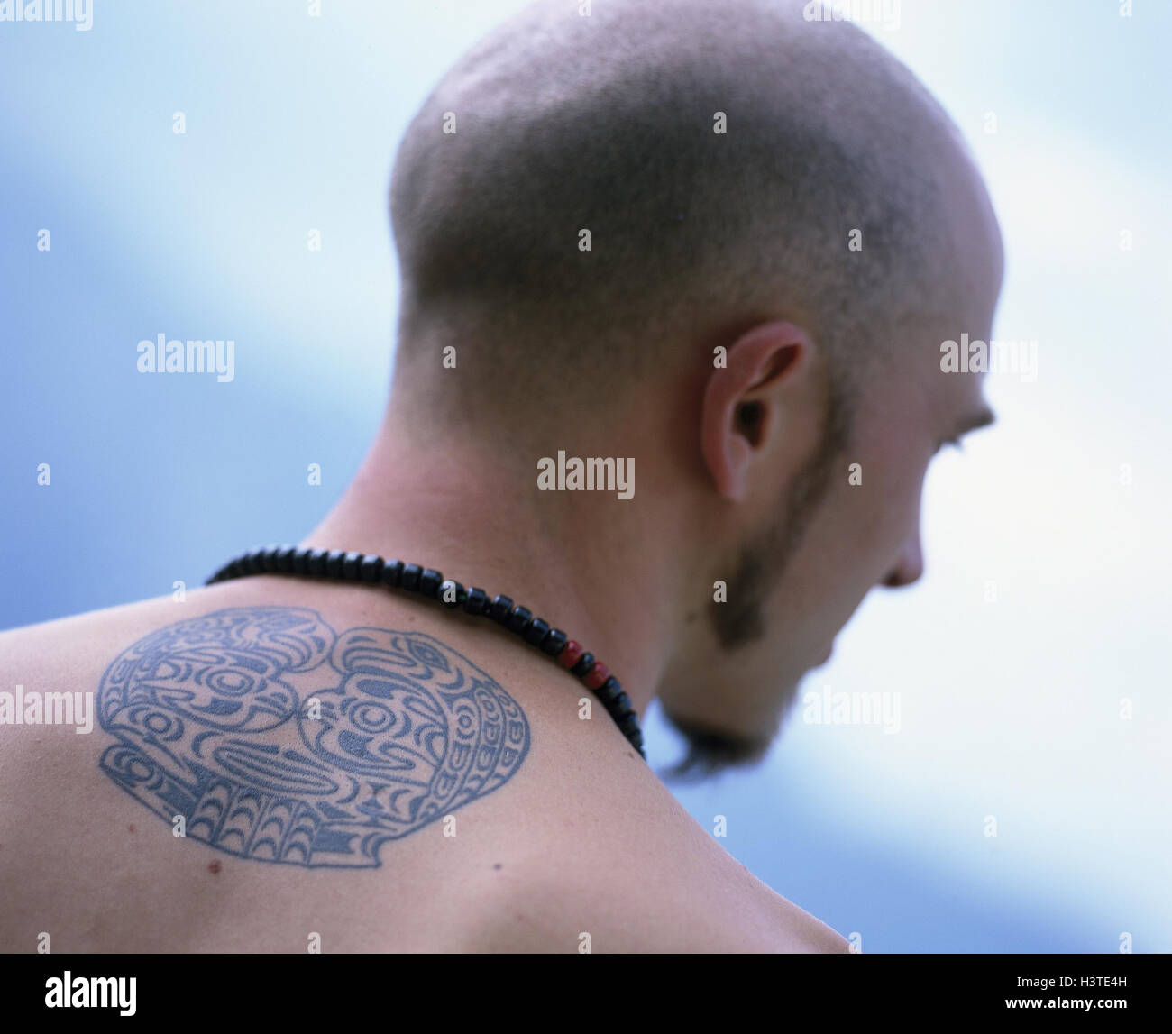 Man Shoulder Range Tattoo Back View Lifestyle Beard