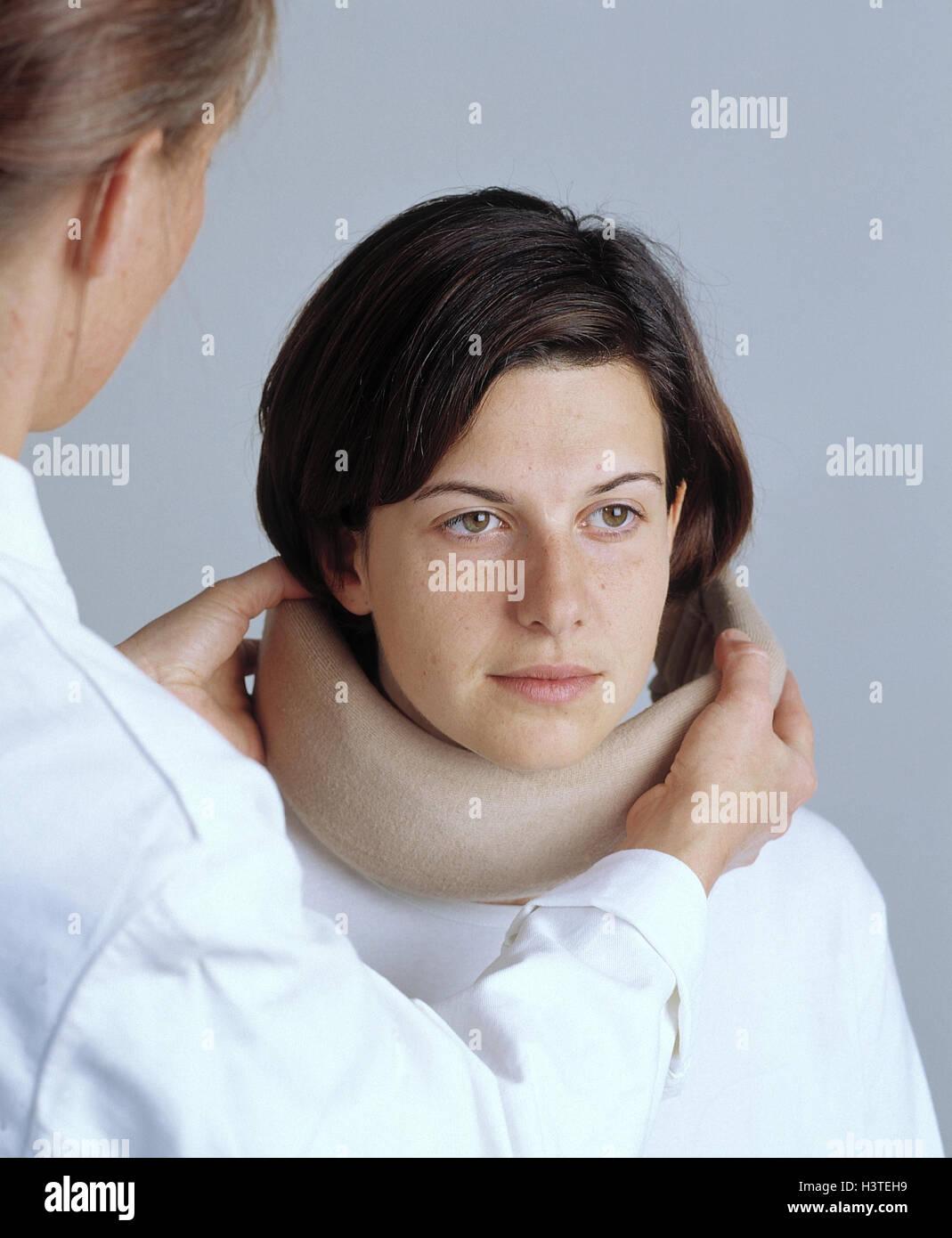 Doctor, patient, complaints, injury, nape, ruff, invest centrifugal trauma, cervical vertebra pillar, cervical vertebra, - Stock Image