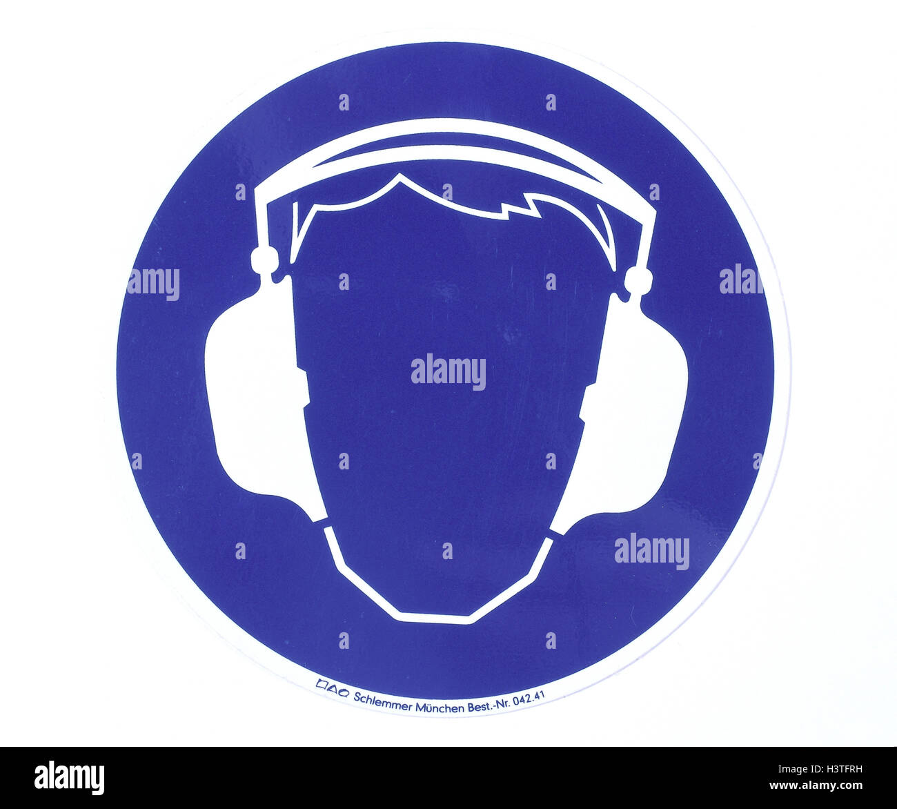 Preventive measure, sign, icon, 'ear defender carry', cut out, warning sign, warning, request, Commandment - Stock Image