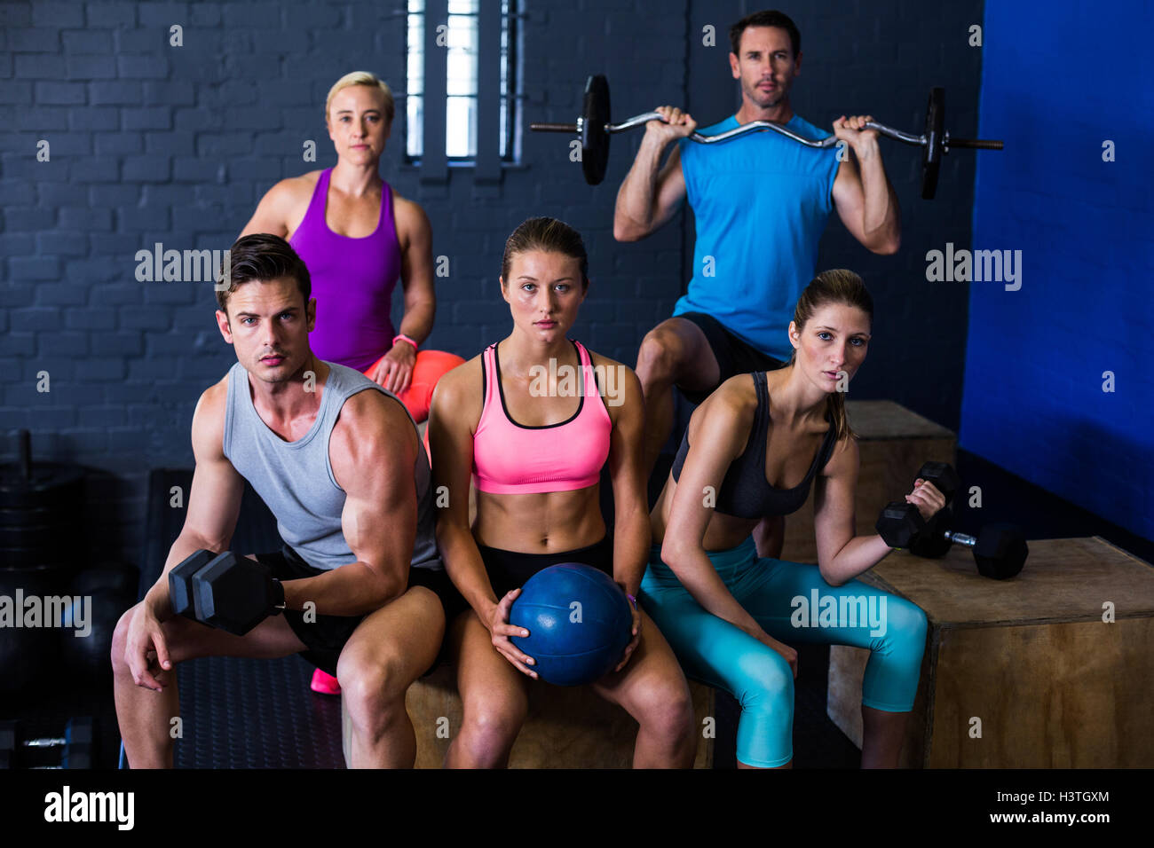 Athletes with exercise equipment - Stock Image