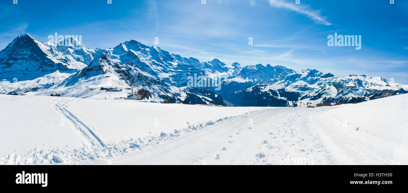 the most popular ski resort of switzerland. the view of such tops as
