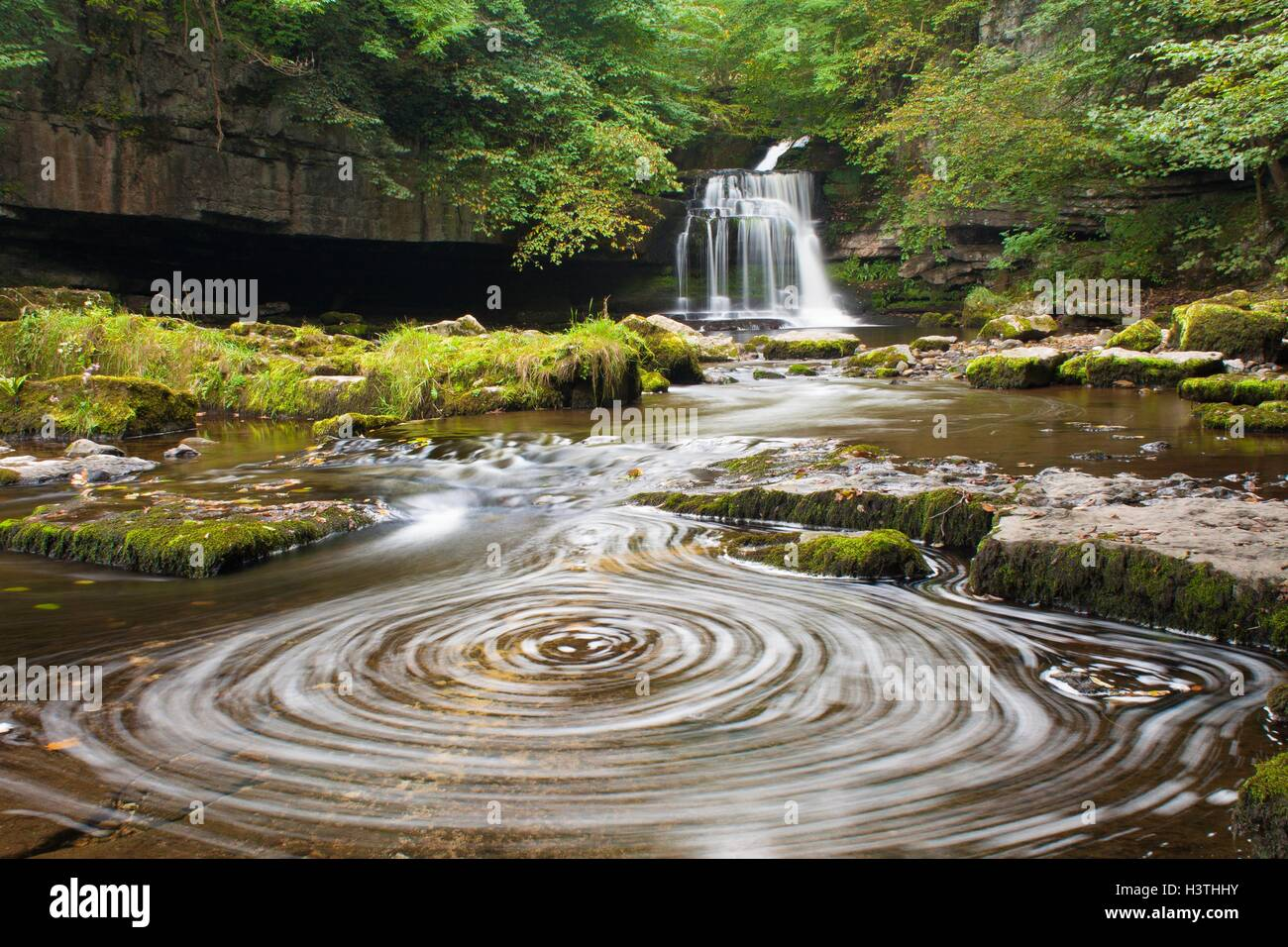 West Burton Falls, or Cauldron Force, on the edge of Wensleydale in the Yorkshire Dales National Park. - Stock Image