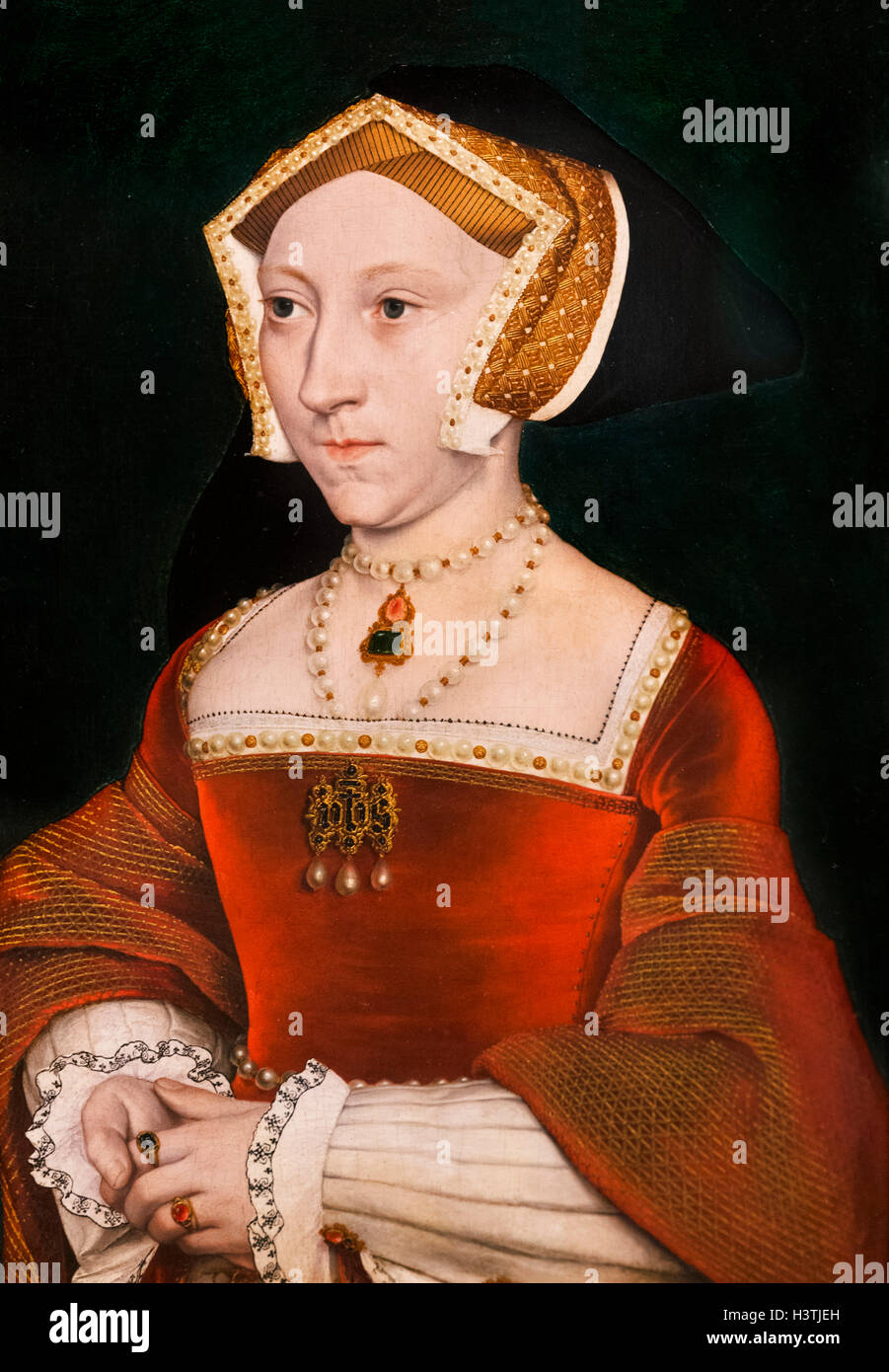 Jane Seymour (1508-1537), third wife of King Henry VIII of England, by Workshop of Hans Holbein the Younger, c.1540. - Stock Image