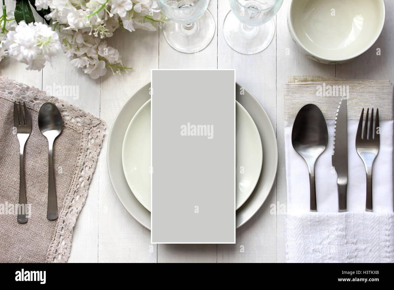 Table card mockup, menu mockup. Vintage fashion photography. Wedding dinner design. Place card, reserved card. - Stock Image