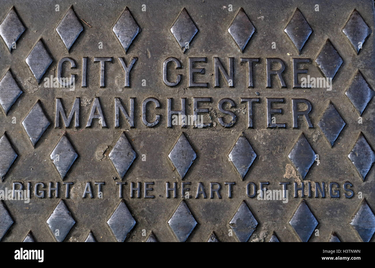 City Centre Manchester Grid,Right at the heart of things, England UK - Stock Image