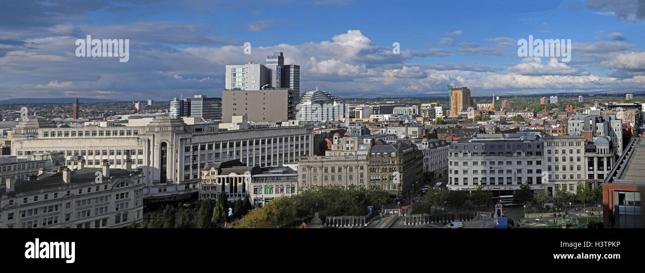 Manchester City wide panorama, Lancashire,England, daytime - Stock Image
