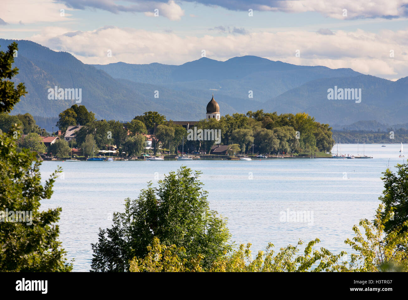 View of the Fraueninsel, Gstadt, Chiemsee, Bavaria, Germany Stock Photo