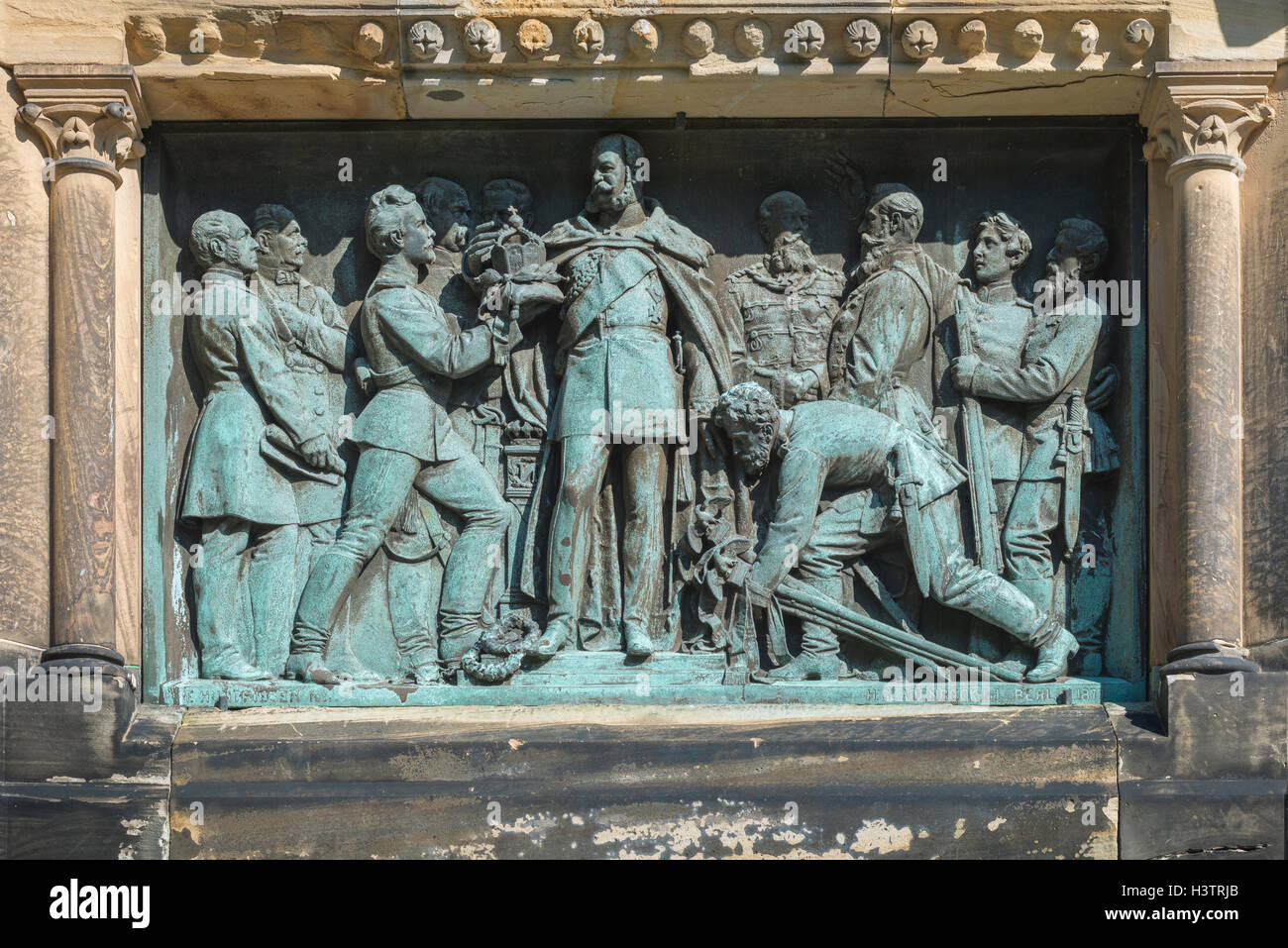 Monument, memorial, relief showing handover of the imperial crown to Wilhelm I, Magdeburg, Saxony-Anhalt, Germany - Stock Image