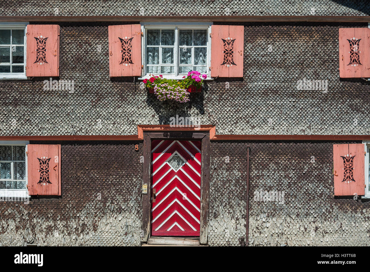 Facade With Weathered Wood Shingles Old House Aach Oberallgau Bavaria