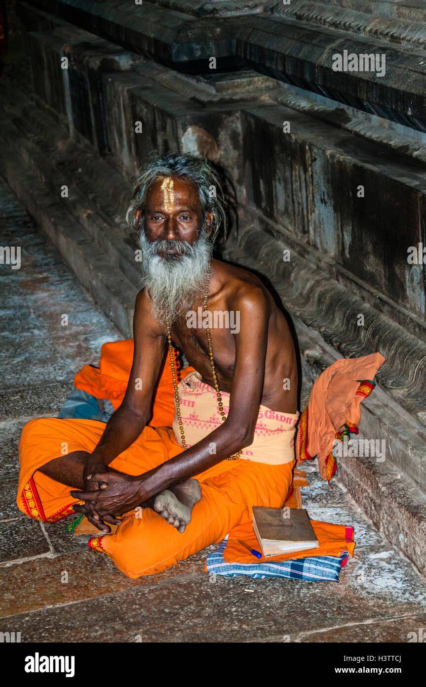 A sādhu, Srirangam, Iruchirappalli District Tamil Nadu, India - Stock Image
