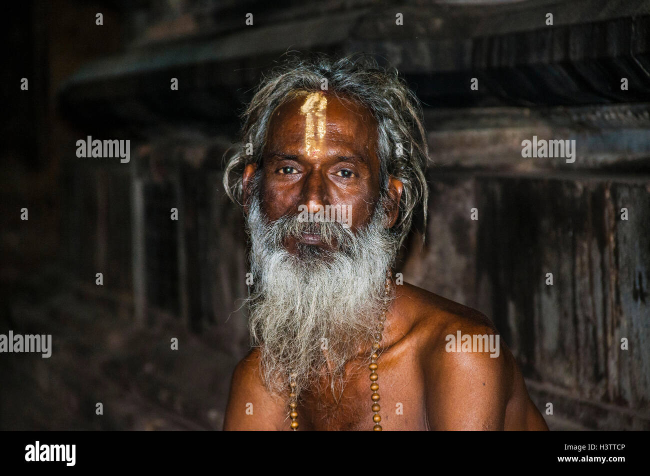 A sādhu, Srirangam, Iruchirappalli District Tamil Nadu, India Stock Photo