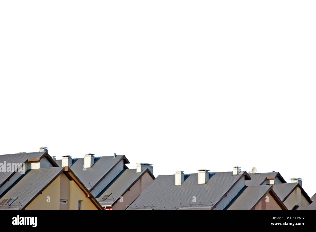 Rowhouse Roofs Panorama, Isolated Rooftops, Panoramic Copy Space, Row House Apartments, Modern Condos Rooftop Group - Stock Image