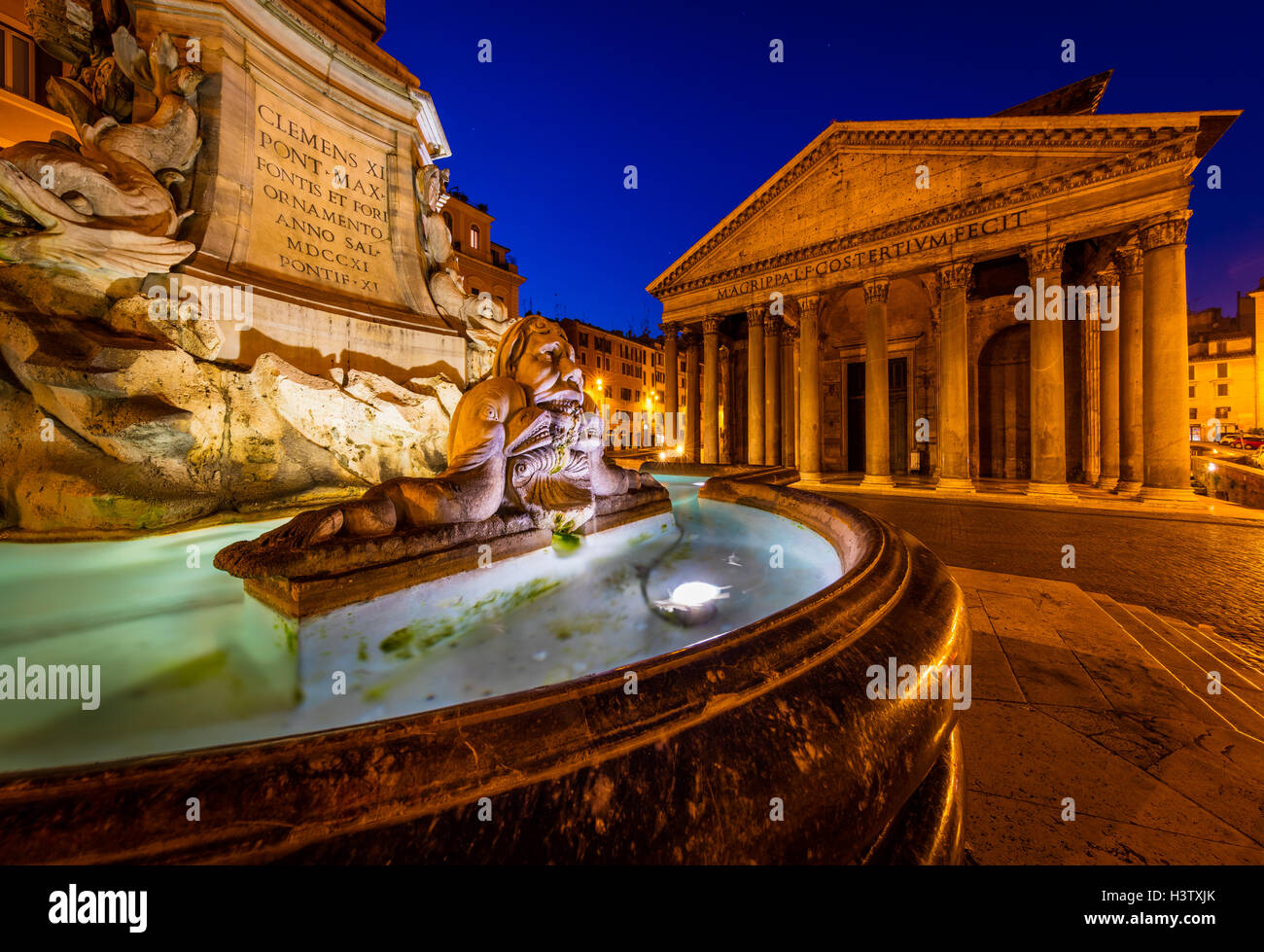 The Fontana del Pantheon fountain in front of the Pantheon in Rome, Italy. - Stock Image
