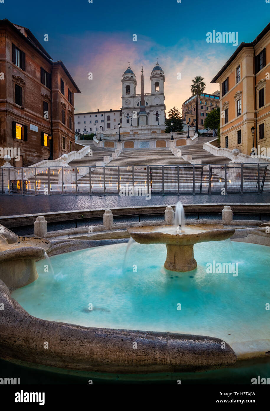 The Spanish Steps are a set of steps in Rome, Italy - Stock Image